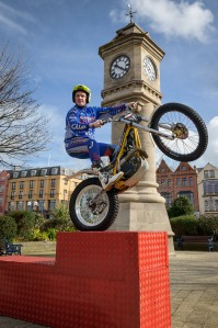 Trials bike rider Andy Perry preparing to compete in the Lego Live Bike Competition which will take place this Easter Monday, April 21st at The McKee Clock Arena, Bangor.