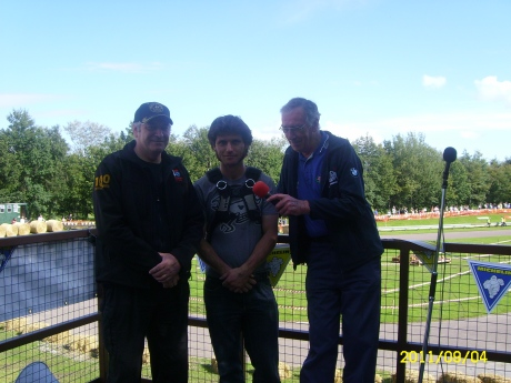 John Moffat, Guy Martin and George McCann the North West 200 commentator at Alford .