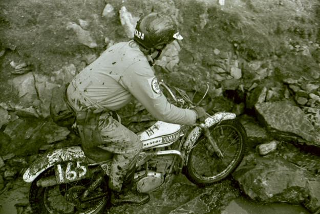 Mick Andrews in a hurry during the 1975 Scott Trial. Photo: Barry Robinson.