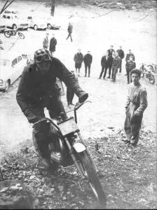 Grenoble, 1965 - Oriol Puig Bulto on a Bultaco Sherpa with 'Bambi' Valera watching. Oriol was a nephew of Snr. Bulto, the Bultaco company founder. Photo: Cristina Valera Fandos Archive.