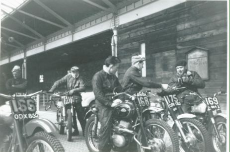 1963 - SSDT Day 1 - No. 166 is the Greeves of Doug Theobald; 170 is an Irish rider not in programme; 168 is Rob Edwards (Cotton); 175 - Sammy Miller (500 Ariel); 169 is Terry Hill (250 BSA).