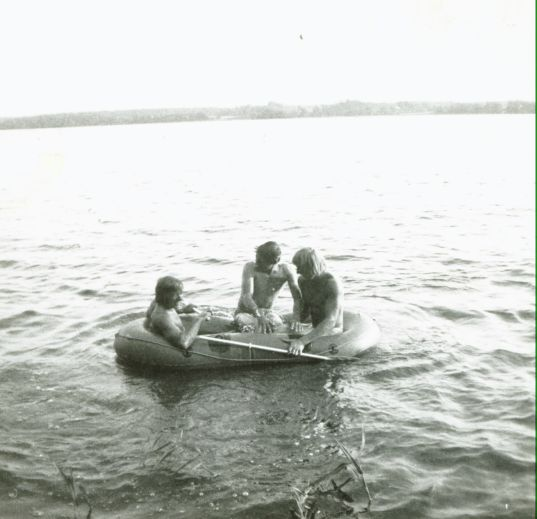 1971 - On a lake in Finland, with Mick Andrews & Malcolm Rathmell.