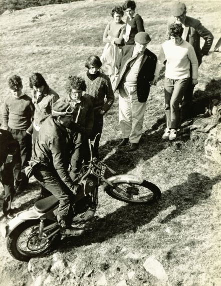 1971 - SSDT - Rob Edwards on the Montesa Cota 247 was 6th in this event. Other notable people in the photo are Alastair MacGillivray far left and third left: Rodger Mount (3 times Scottish Champion 1971-73)
