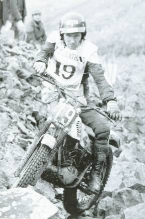 The 1981 Scott at 'Rock Garden' section on the 200cc Montesa - Photo: Barry Robinson