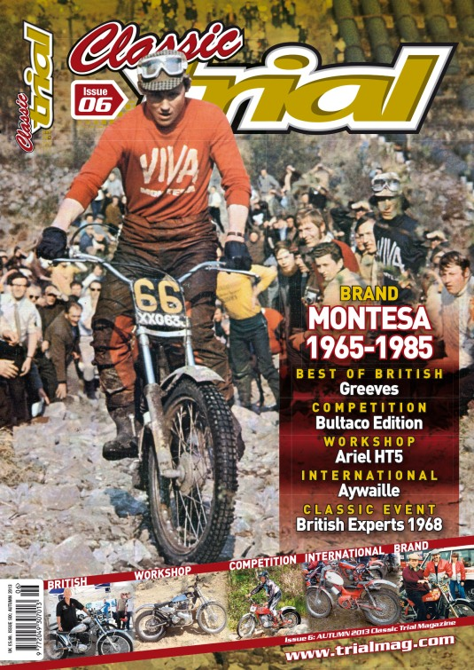 Classic Trial magazine Issue 6 made use of the Montesa photo of Rob on Pipeline in 1971. Cover photo: Classic Trial Magazine.