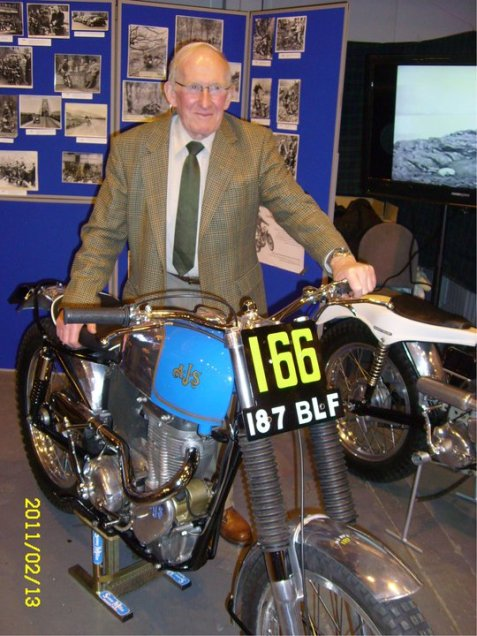 Gordon Jackson with his famous AJS 187BLF on which he won the 1961 SSDT on one solitary mark! (Photo: Trials Guru)
