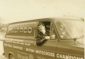 Alan 'Sid' Lampkin with the Comerfords - Bultaco Ford Transit van in 1975. Rob was a frequent travelling companion even although he rode for rivals, Montesa. Photo: Rob Edwards Private collection