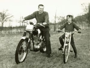Friends of Ron Thomson, Hugh McDonald Senior and Junior. Hugh Snr is on Ron thomson's BSA Gold Star and Hugh Jnr on the special bike built for him by Ron Thomson. Photo courtesy of Alister McDonald, Fort William.