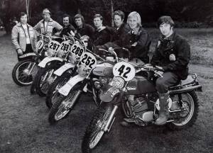 Sid, fourth from the left at the ISDT in the USA in 1973, Triumph mounted that year.