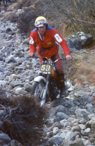 Rob Edwards in the 1979 SSDT on his 349 Montesa at Laggan Locks. Photo copyright: Iain Lawrie, Kinlochleven