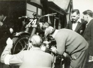 Ron gets his 250cc BSA C15T examined and security marked at Gorgie Market in May 1959. On Ron's left is Davie Miller, one of the course markers of the SSDT. Photo cortesy of Mrs. Helen Thomson.