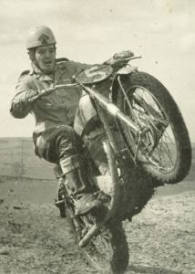 1960 on the BSA Gold Star, shifting - Photo: Courtesy, Peggy Davies