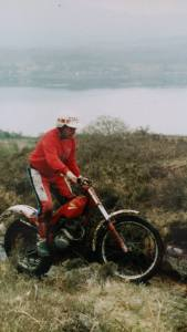 John on his Honda Seeley TL200E at Callender around 1988, a bike which he converted to Mono-shock rear suspension. The bike was previously owned by Robbie Paterson of Cumbernauld. Photo: Grant Taylor, Falkirk.