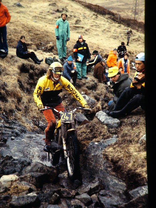 John Reynolds on his 325 Suzuki in the 1979 Scottish Six Days on Achallader, Bridge of Orchy. - © - Jimmy Young, Armadale.