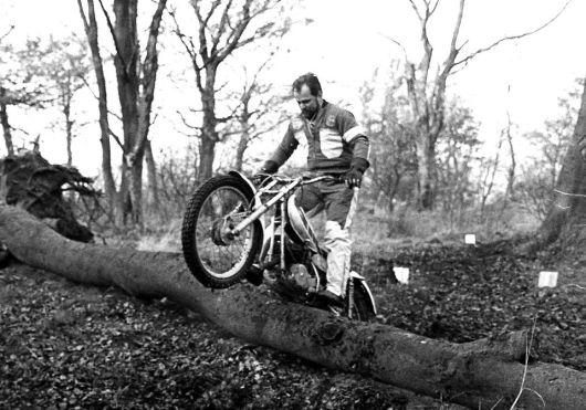 Jimmy Young on his TY250 Yamaha in a Lanarkshire Club trial around 1978.