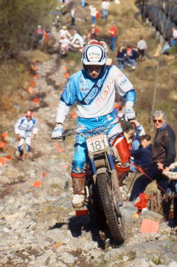 Rob Crawford - N. Ireland (260 Beta) on Pipeline in the 1989 Scottish Six Days - © - Iain Lawrie, Kinlochleven.