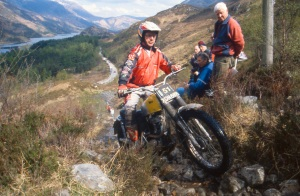 Sid on Coalasnacoan in 2000 on Arthur's BSA (XON688) Photo: Iain Lawrie, Kinlochleven.