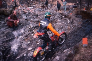 Alan Lampkin on Blackwater sections in the 1978 Scottish, note the Barcelona registration on his 325 Bultaco. Photo copyright: Iain Lawrie, Kinlochleven.