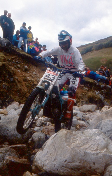 Carlos Casas (310 Montesa) - embajador de Escocia - in the 1991 Scottish Six Days - © – Iain Lawrie, Kinlochleven.