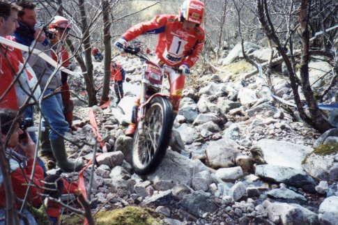 Jordi Tarres (Fortuna - GasGas) at Glen Nevis in the 1992 British round of the FIM World Trials Championship – © – Jeremy Whittet