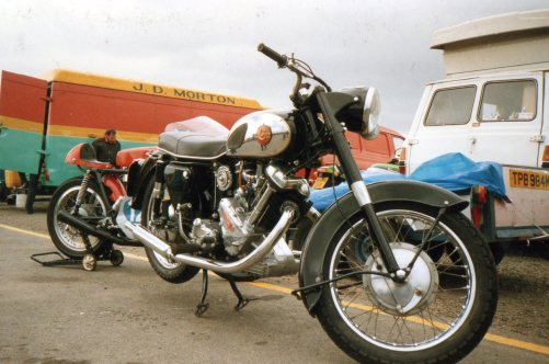 Spotted at Knockhill in June 1989 a Panther rioad bike, but lurking behind is the famous Jimmy Morton van that sold trials and motocross spares all over Scotland – © – Jeremy Whittet.