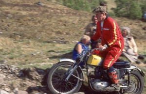 Sid's younger brother, Martin enjoys a gallop on eldest brother Arthur's BSA C15T (XON688 in 1984 on Blackwater. Photo: Iain Lawrie, Kinlochleven.