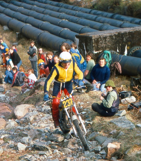 Mick Andrews (250 Ossa) on Pipeline in the 1978 Scottish Six Days - © – Iain Lawrie, Kinlochleven.