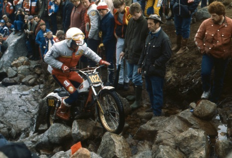 Phillipe Berlatier (280 Aprilia) in the 1985 Scottish Six Days on Chairlift - © – Iain Lawrie, Kinlochleven.