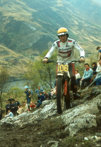 Rob Edwards (Sandiford Montesa) Scottish Six Days Trial 1981 - Mamore Section - Photo ~ Iain Lawrie, Kinlochleven