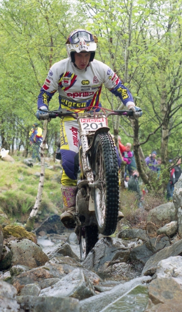Rob Crawford (280 Aprilia) on Piper's Burn in the 1993 Scottish Six Days - © – Iain Lawrie, Kinlochleven.