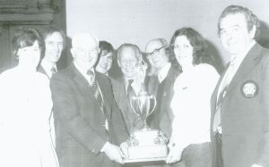 A Scottish ACU presentation of awards ceremony at Perth in 1980. From left: Ron Wright (SACU Trials); Alex Phillip (Clubman TT winner 1948); Robbie Allan; Charlie Bruce (Scottish racing champion); Tommy Milton (SACU official); Anne Allan (wife of Vic Allan) and Jock Wilson, ISDT Team Manager.