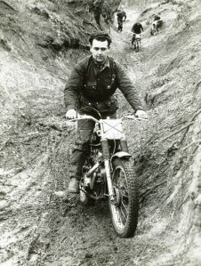 Jock on his short-stroke AJS in a Sidcup 60 Trial. Comerfords Sales manager Bert Thorn is following in the background.