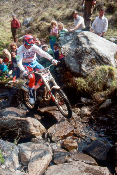 Steve Colley (249 Fantic) on Chairlift in the 1990 Scottish Six Days - © – Iain Lawrie, Kinlochleven.