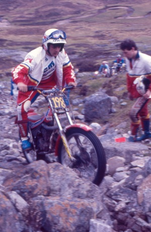 Tony Scarlett (300 JCM) on Callart Falls in the 1987 Scottish Six Days - © – Iain Lawrie, Kinlochleven.