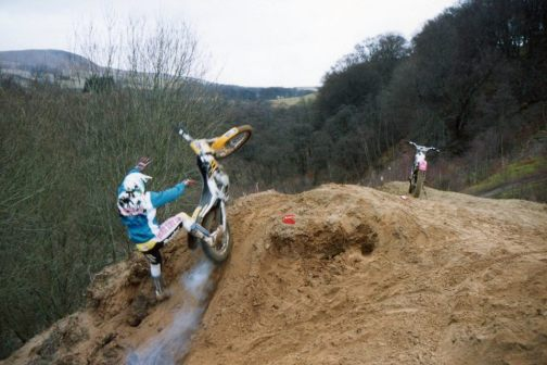 Scottish motorcycle racing champion Torquil Paterson, New Scone was a trials rider to begin with. Here he is parting company with his Beta in 1995 at a Crieff trial.