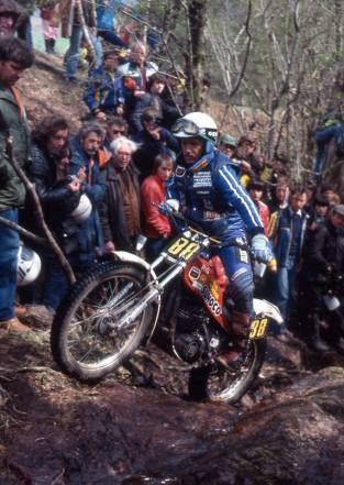 Yrjo Vesterinen (349 Montesa) in the 1980 Scottish Six Days on Trotters' Burn - © – Iain Lawrie, Kinlochleven.