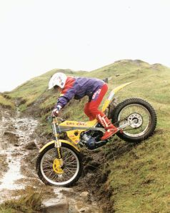 Stu on his 125 Gas Gas Contact in 1995 when a youth rider in Scotland.