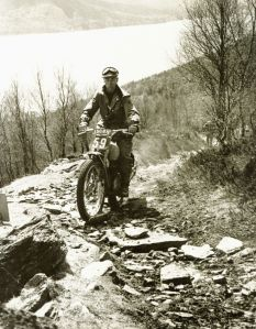 Tommy Robertson on Kinloch Rannoch in the 1953 Scottish on his Edgar Brothers supplied 200 DMW