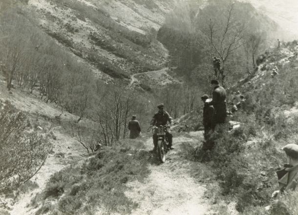 Tommy on his AJS in the 1950 Scottish Six Days on his AJS. This is 'Kinloch Hourn', no longer used a long climb into the hill from Loch Hourn.