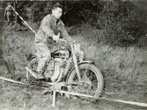 Tommy on his AJS 350 16MC at a trial near WesBathgate, West Lothian around 1951