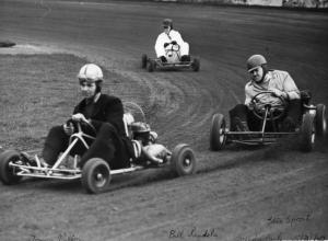 Karting - Tommy Milton leads Bill Landels the well-known speedway rider and Stan Sproat who was to become part of the great Ecurre Ecosse car racing organisation and a director of Lothian Sports Cars in Edinburgh.