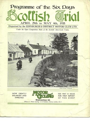 Front cover of the 1935 SSDT programme which was won by Bob MacGregor - Photo Courtesy of Edinburgh & District Motor Club Ltd Archive.