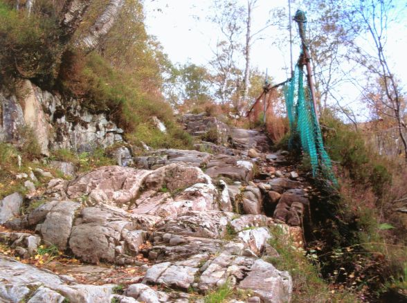 The Blackwater (or Cairan Path) catch net, constructed by members of the Scottish Six Days Trial committee in the late 1960s. - Photo Jock McComisky