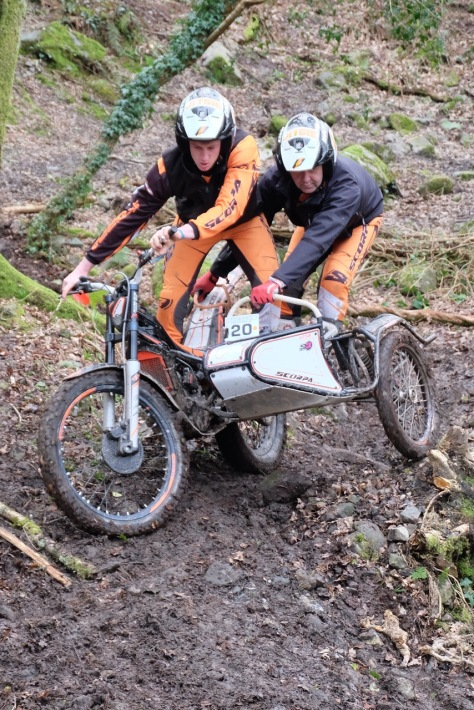 20 Nigel Crellin -Chris Molyneux championship Perveil taken the days win on 14 at cmcc Colin Dommett sidecar trial round 4 in Garker Cornwall on the
