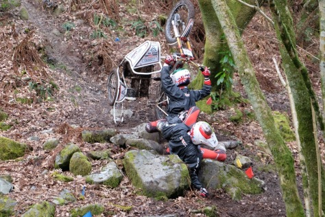 22 Josh and Luke Golding brothers for BSSA WESSEX crashing in style at the crmcc Colin Dommet side car trial at Garker in Cornwall sadly DF due to a later crash but good for first timers in the field 6th of
