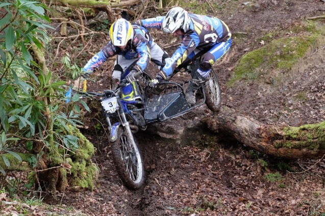 3 clubman Mike Pope -Chris Skidmore coming in 7th with 81 from Hookwoods TC  at crmcc Colin Dommett sidecar trial round 4 at Garker in Cornwall