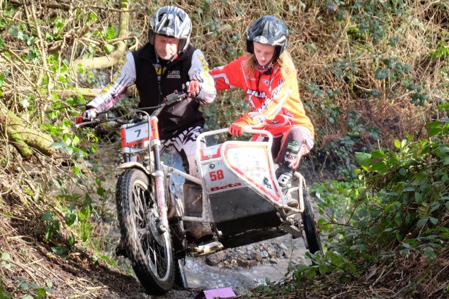 7 Phil Sparkes-Izzy Saunders clubman BSSAWESSEX in 8th place with 103 at Camborne Redruth mcc the Colin Dommett sidecar trial round 4 at Garker
