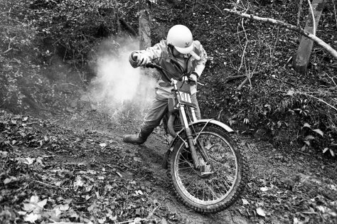 Allan Hunt and his smoking Bultaco