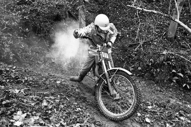 Allan Hunt and his smoking Bultaco