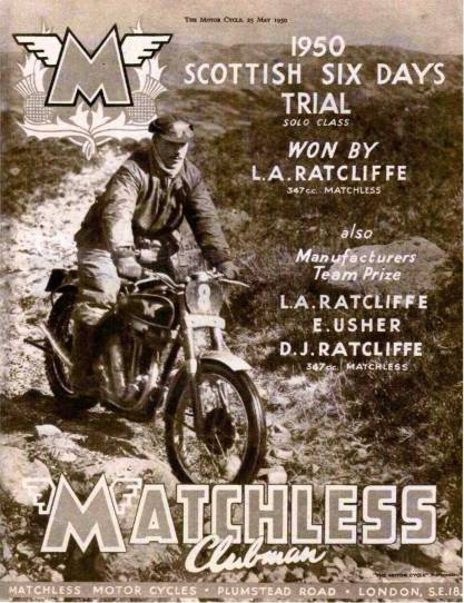 1950 Matchless Advert SSDT Win